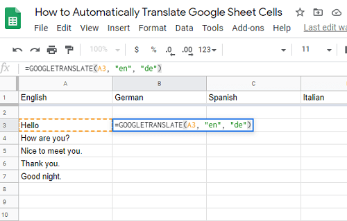 How to Translate Google Sheets Cells