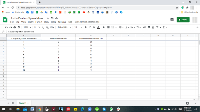 Unfreeze Cells in Google Sheets