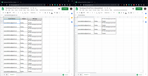View Google Sheets Side by Side