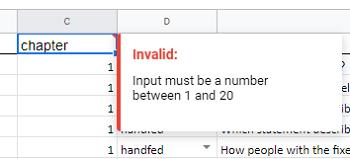 invalid data