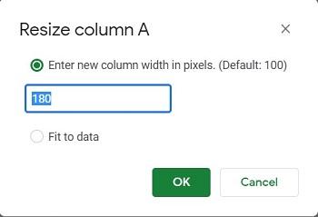column size resizes
