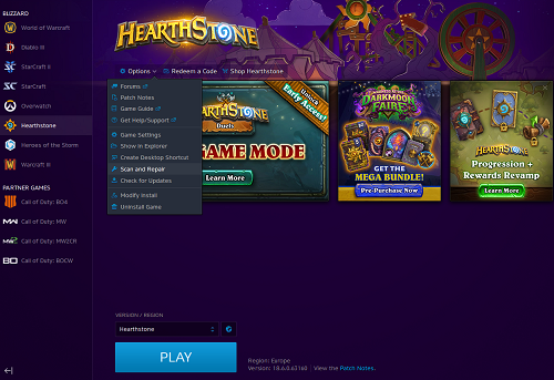 Force Download and Update Hearthstone