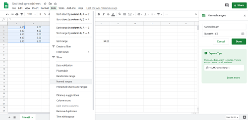 a Range in Google Sheets