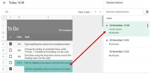 Google Sheet Edit History