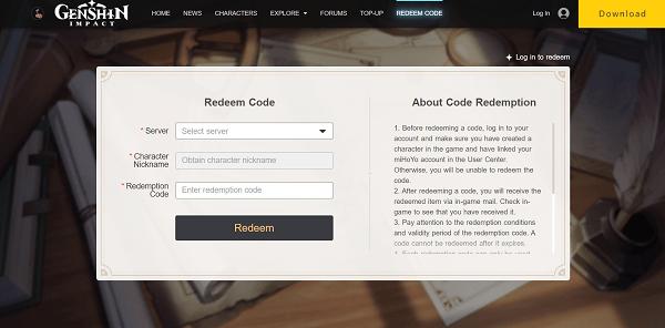 genshin impact codes - redeem code