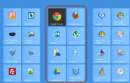organize windows 8 tiles in groups - a new group created