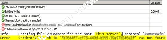 Veeam Error Credentials with id was not found Hatası