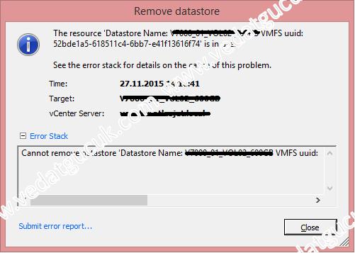 vSphere ESXi Cannot remove datastore hatası