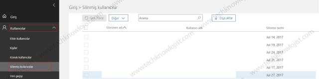 Office 365'te Silinmiş Kullanıcıları Kalıcı Olarak Silme