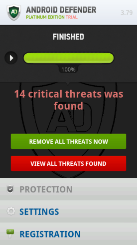 Fake warning showing critical threats have found.