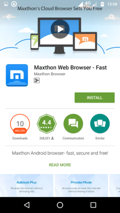 maxthon web browser - best android browsers