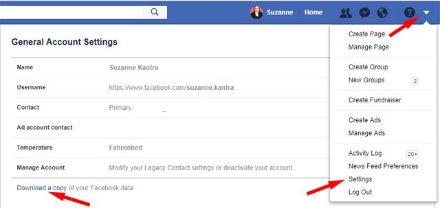Comment télécharger vos données Facebook