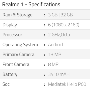 realme 1 specifications