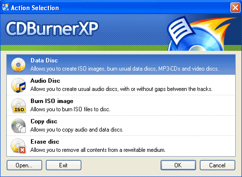 CDBurnerXP Wizard - Free Burner Windows Burning Software