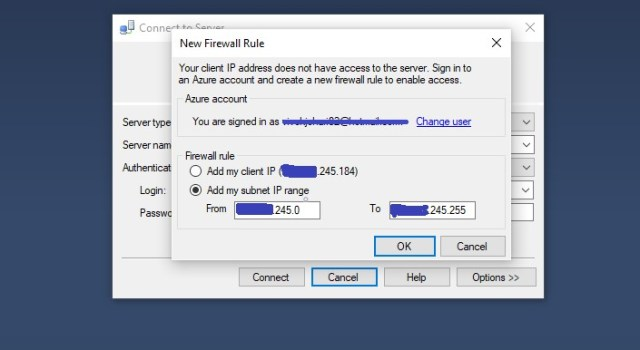 Adding range of IP Address in Firewall Rule for accessing the Azure SQL Server