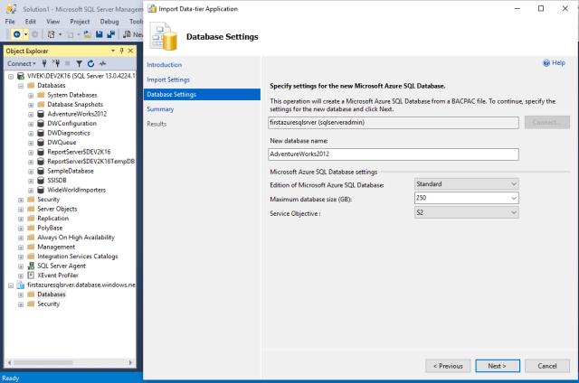 Database setting page
