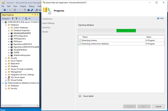Processing the creation of .bacpac file