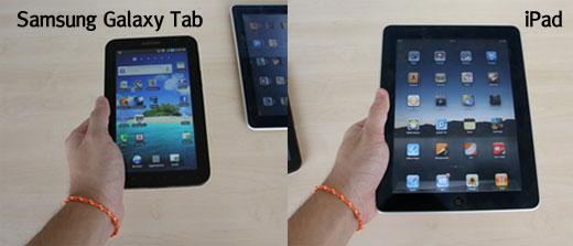 Samsung Galaxy Tab เมื่อถือด้วยมือข้างเดียว เปรียบเทียบกับ iPad ที่ถือด้วยมือข้างเดียว