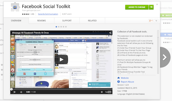 Facebook social toolkit extension for chrome