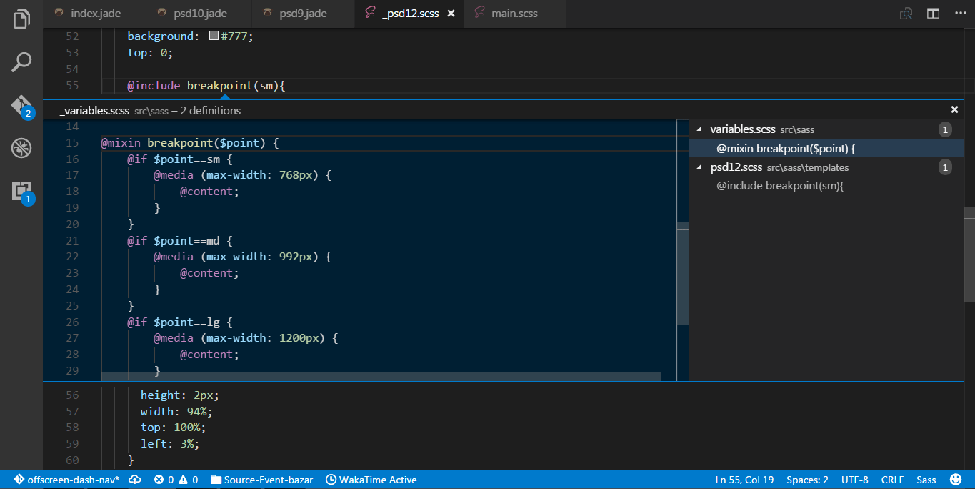 vscode sass scss peek definition