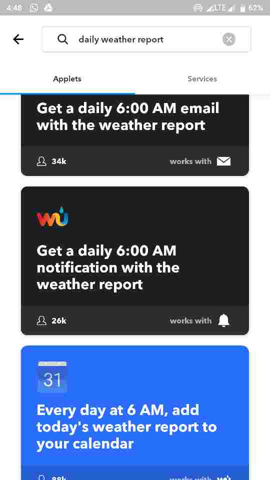 Push a Daily weather report