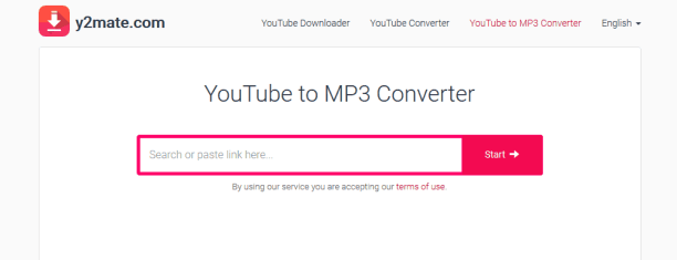 open y2mate website to make youtube to mp3