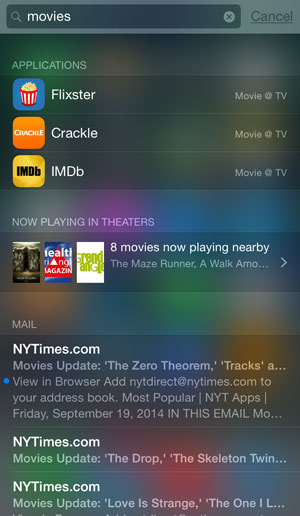 iOS 8 spotlight search