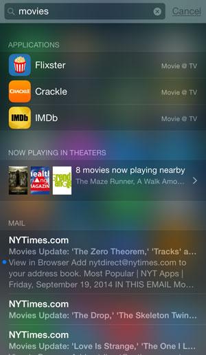 iOS 8 spotlight search