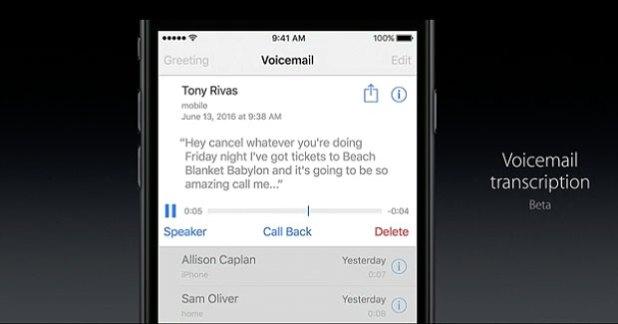 iOS 10 voicemail transcription