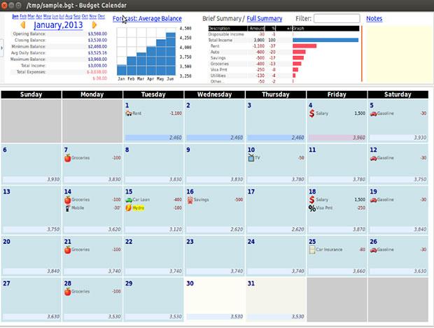 Imagine de ecran pentru aplicația calendaristică Buget