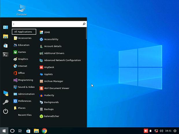 Linuxfx 10 Cinnamon desktop