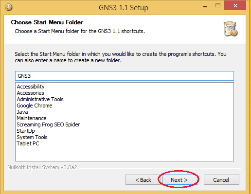 GNS3 Choose Start Menu Folder