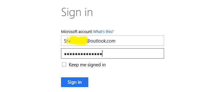 Log in to Microsoft Account