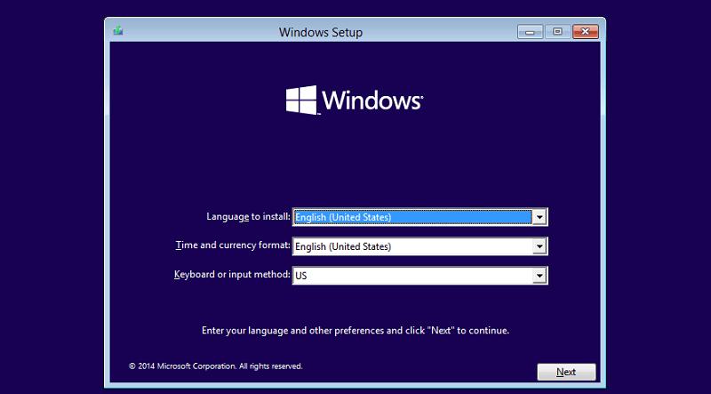 Windows 10 Setup Page