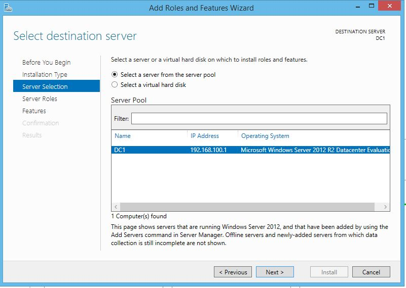 Active Directory Destination Server