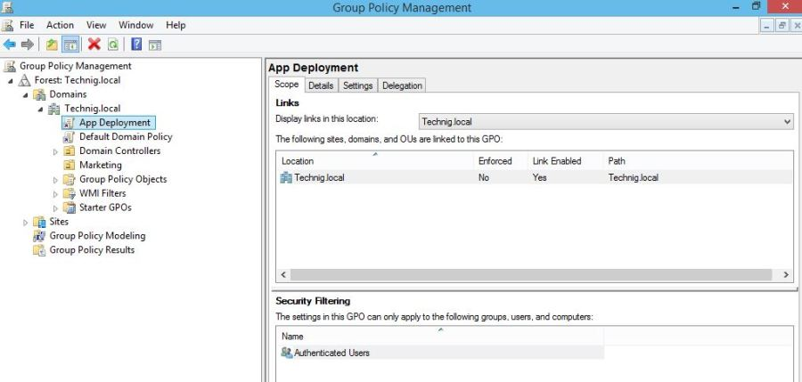 Group Policy Object in Windows Server 2012 R2