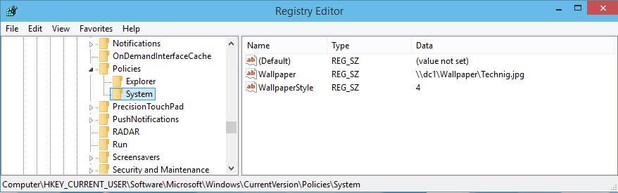 Registry Editor in Windows Server 2012 R2