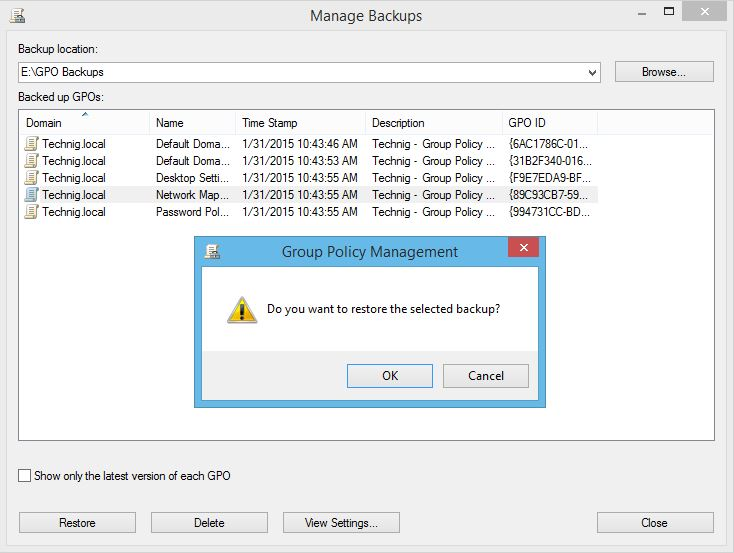 Backup and Restore Group Policy Objects