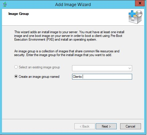 Create and Image Group for WDS