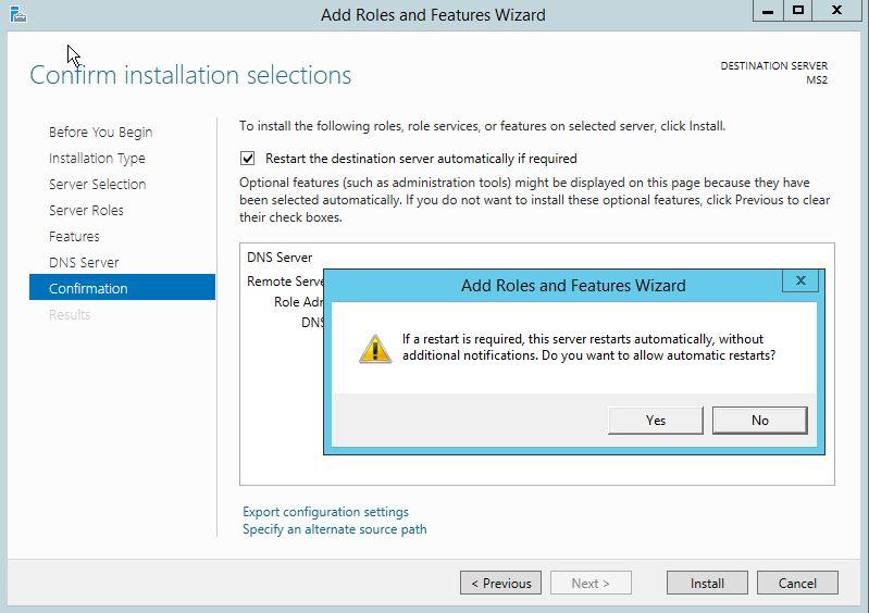 DNS Server Installation Confirmation