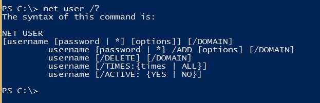Net User command line helps in Windows 10