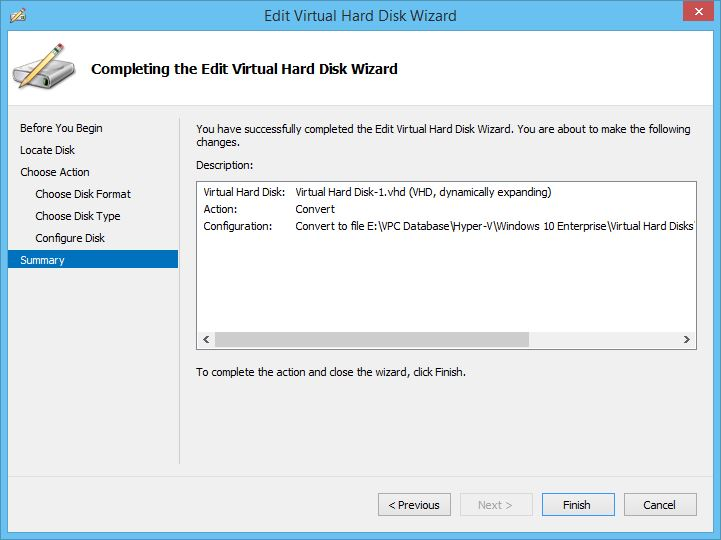 Completing the Edit Virtual Hard Disk Wizard