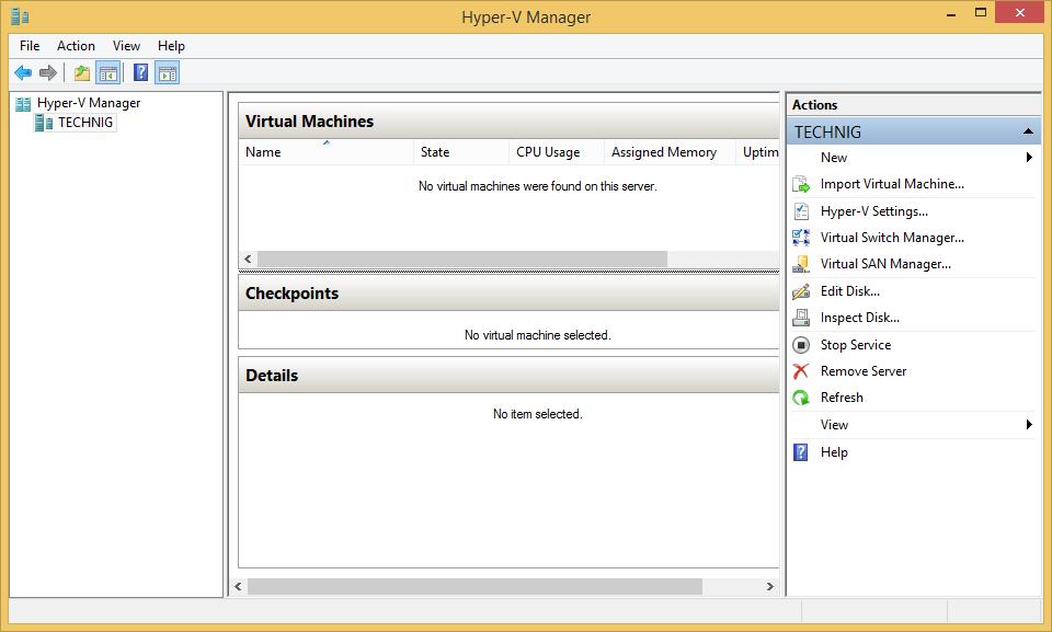 Hyper-V Manager on Windows 8 1