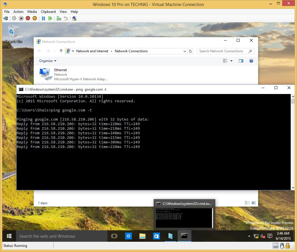 Connect Windows 10 Virtual Machines to Internet - Technig