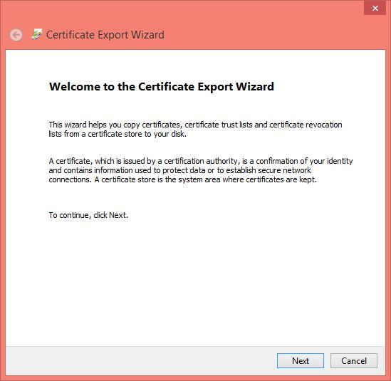 Windows 10 Encrypt Folder - Certification Export Wizard