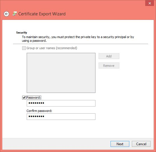 Certification Password and Data Backup