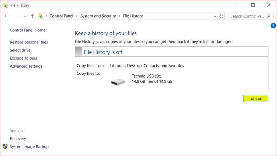 Backup Data using File History