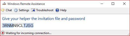 Remote Assistance Password