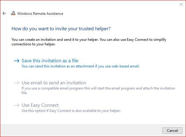 Save Remote Assistance Invitation