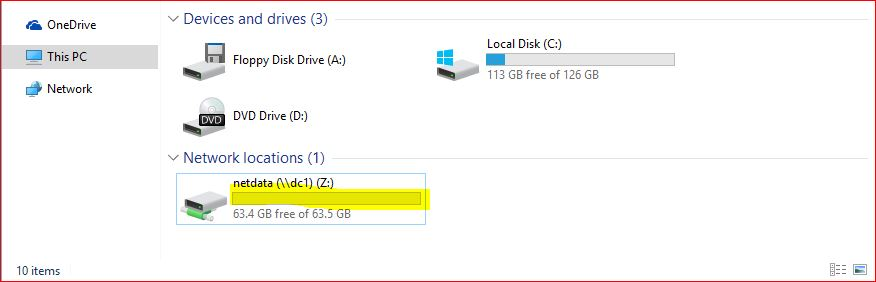 A Shortcut drive to shared folder